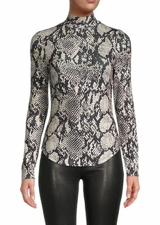 French Connection Animal-Printed Mockneck Top