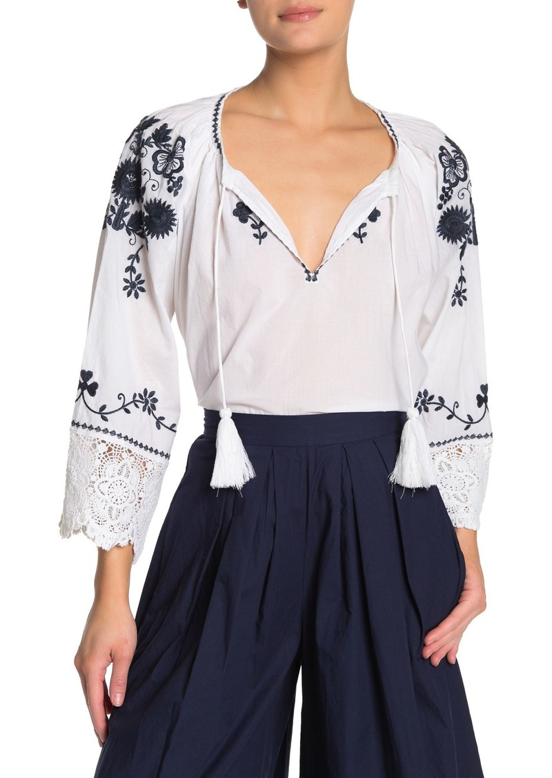 French Connection Asaret V-Neck Embroidered Folk Blouse