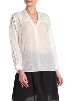 French Connection Avea Fleur Embroidered Blouse