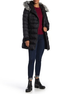 French Connection Belted Waist Faux Fur Trim Hooded Quilted Jacket