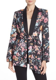French Connection Bridget Floral Print Satin Waist Belt Jacket
