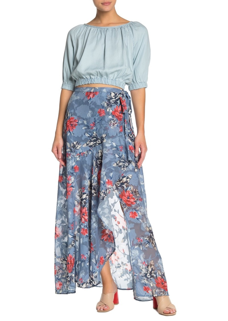 French Connection Cataline Devore Wrap Maxi Skirt