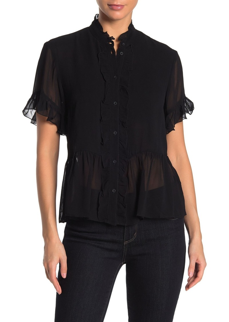 French Connection Clandre Ruffled Short Sleeve Chiffon Top