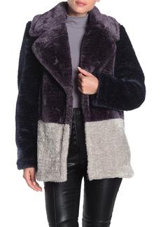 French Connection Colorblock Print Faux Fur Coat