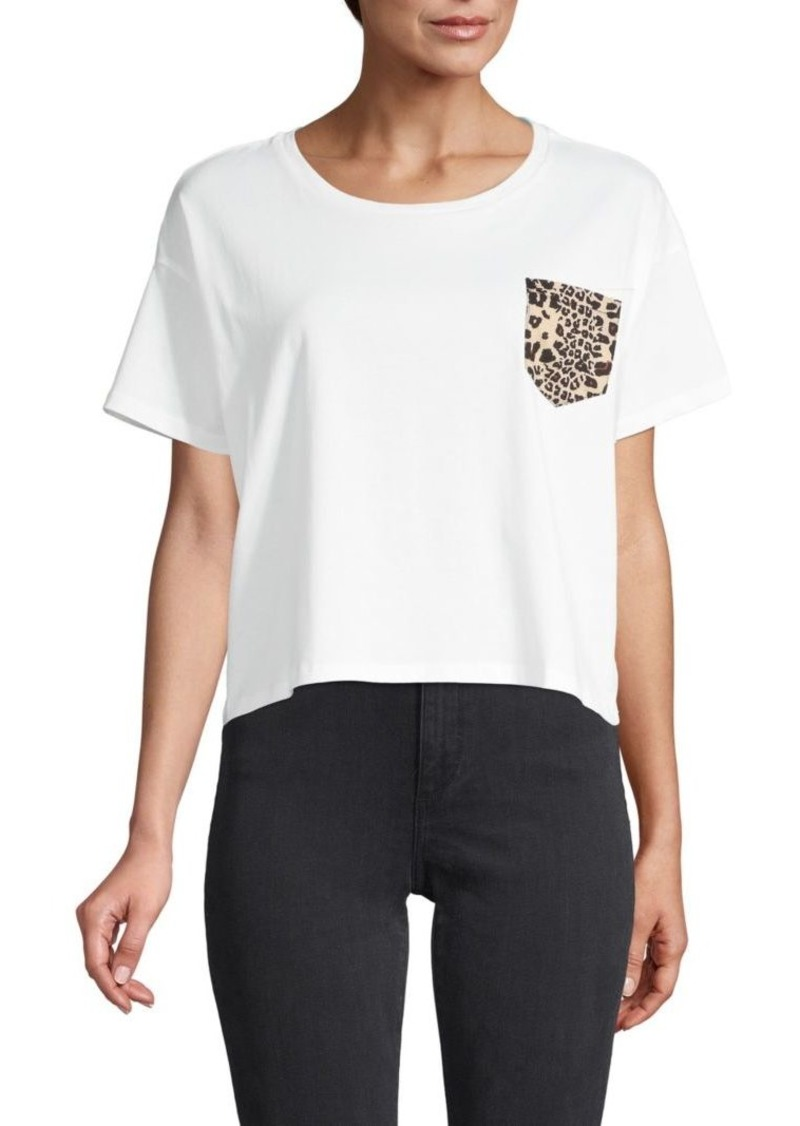 French Connection Cropped Leopard-Print Cotton Pocket Tee