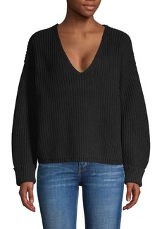 French Connection Deep V-Neck Cotton Sweater