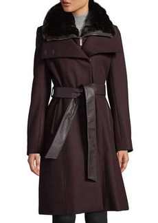 French Connection Double-Breasted Belted Wool-Blend Coat with Detachable Faux-Fur Bib