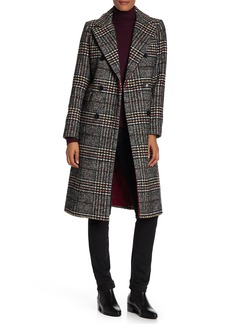 French Connection Double Breasted Plaid Print Topper Coat