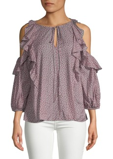 Elao Voile Cold-Shoulder Ruffle Blouse