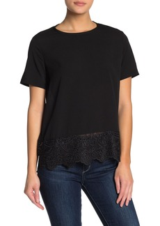 French Connection Eyelet Trim Short Sleeve Tee