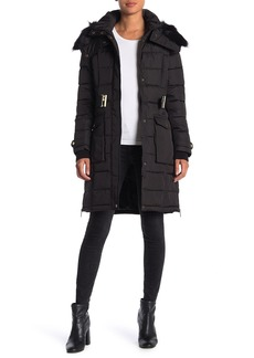 French Connection Faux Fur Belted Hoodie Puffer Jacket