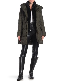 French Connection Faux Fur Bib Quilted Coat