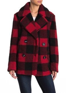 French Connection Faux Fur Buffalo Plaid Print Notch Collar Jacket
