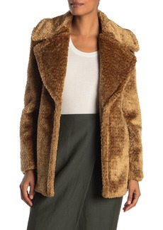 French Connection Faux Fur Notch Collar Coat
