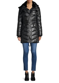 French Connection Faux Fur-Trimmed Quilted Coat