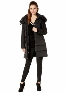 French Connection Faux Fur Wool Four-Pocket w/ Hood