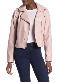 French Connection Faux Leather Flat Studded Asymmetrical Zip Moto Jacket