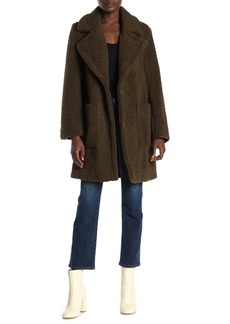 French Connection Faux Shearling Notch Lapel Patch Pocket Coat