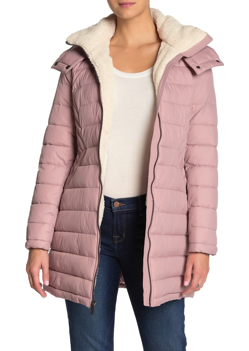 French Connection Faux Shearling Trim Hooded Zip Puffer Jacket