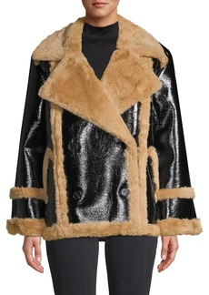 French Connection Filpa Oversized Faux Shearling Patent Jacket