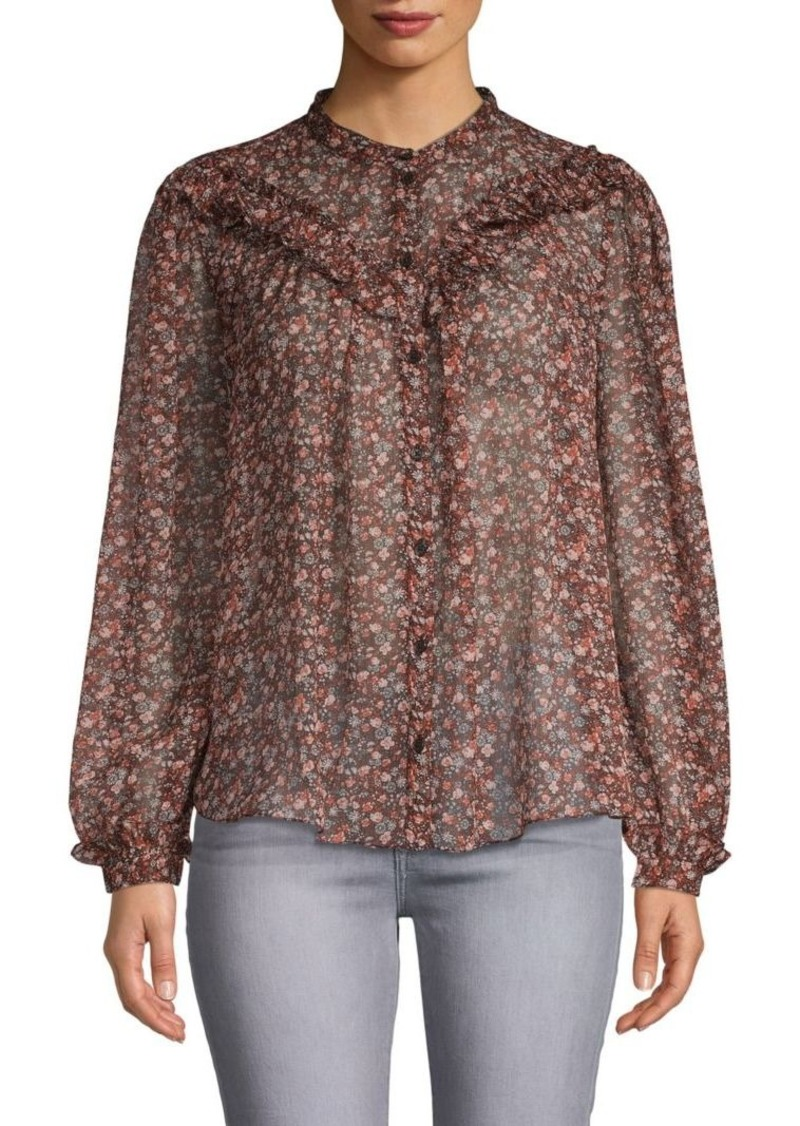 French Connection Floral-Print Long-Sleeve Top