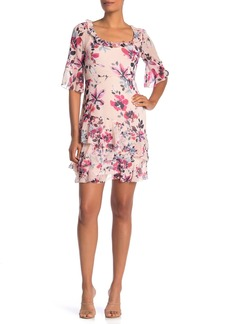 French Connection Floral Ruffled Chiffon Dress