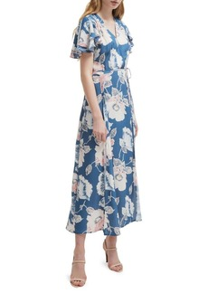 French Connection Floral Ruffled Surplice Midi Dress