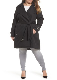 French Connection Water Resistant Belted Trench Coat (Plus Size)