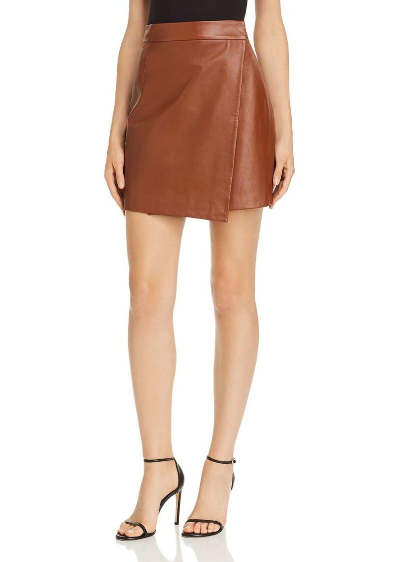 FRENCH CONNECTION Abri Asymmetric Leather Wrap Skirt