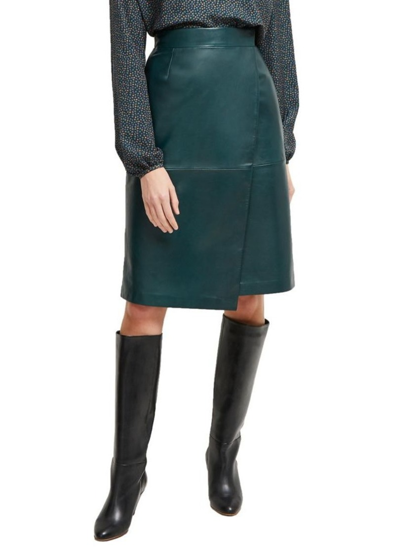 French Connection Abri Leather Wrap Skirt