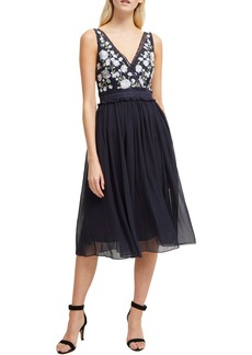 French Connection Abriana Embroidered Lace & Chiffon Cocktail Dress