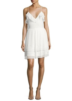 French Connection Adanna Pleated Lace Jersey Dress