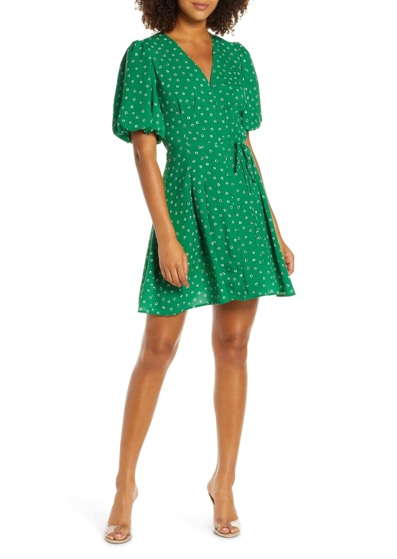 French Connection Adelise Puff Sleeve Fit & Flare Minidress