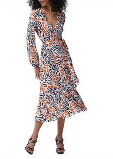 French Connection Afra Verona Long Sleeve Midi Dress