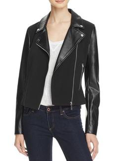 FRENCH CONNECTION Alana Mixed-Media Moto Jacket
