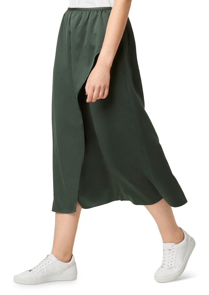 FRENCH CONNECTION Alessia Faux-Wrap Satin Midi Skirt