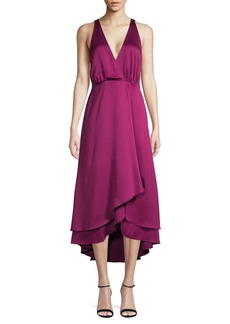 French Connection Alessia Satin Ruffle-Hem Dress