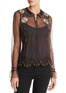 FRENCH CONNECTION Alyssa Sheer Beaded & Floral Embroidery Top