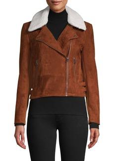 French Connection Amaranta Faux Shearling Collar Moto Jacket