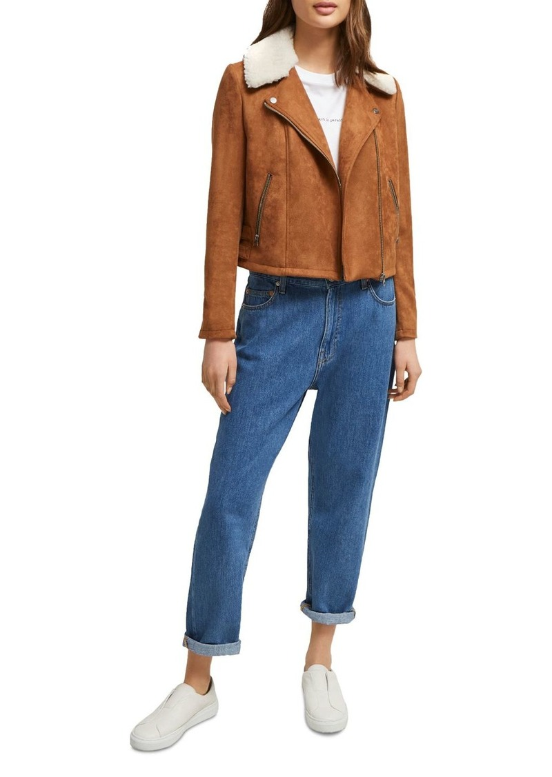 FRENCH CONNECTION Amaranta Faux-Shearling Moto-Inspired Jacket