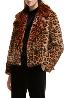 French Connection Analia Leopard Faux Fur Jacket