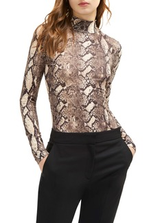 French Connection Animal Print Mock Neck Top