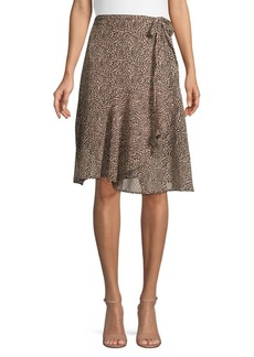 French Connection Animal-Print Wrap Skirt