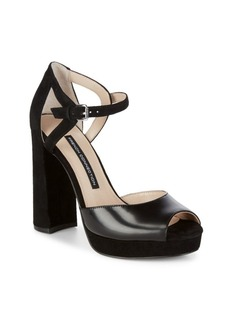French Connection Ankle Strap Textile Block Heels