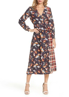 French Connection Anneli Mixed Print Long Sleeve Dress