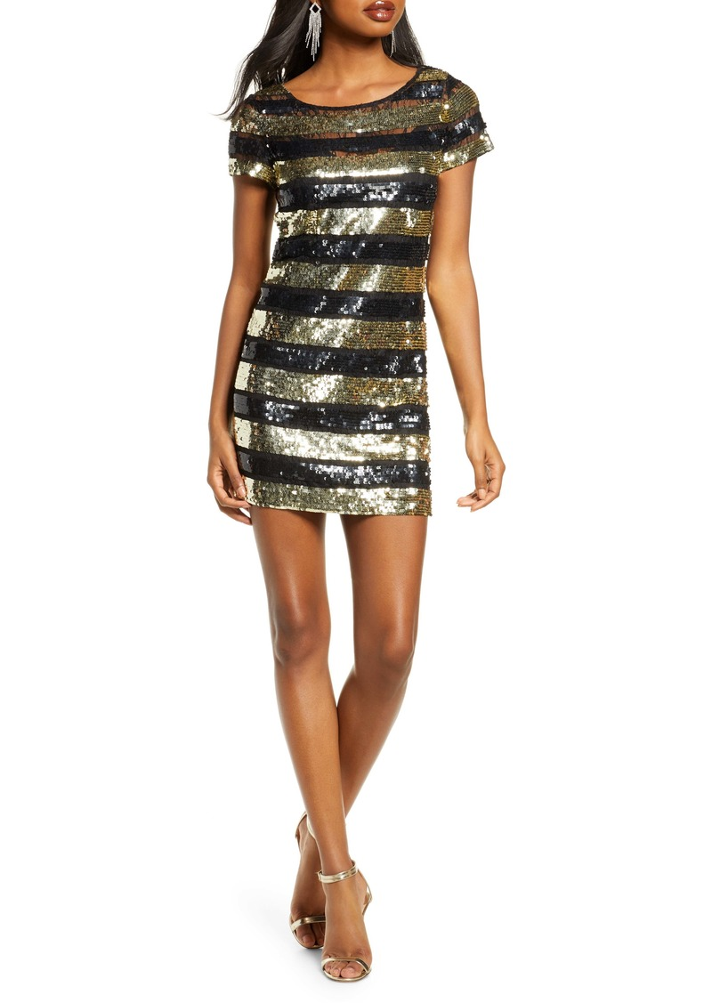 French Connection Anni Sequin Stripe Sheath Dress