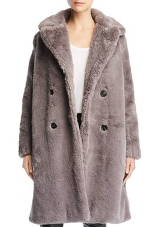 FRENCH CONNECTION Annie Double-Breasted Faux-Fur Coat