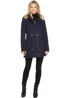 French Connection Anorak Faux Fur Hood and Drawstring Waist