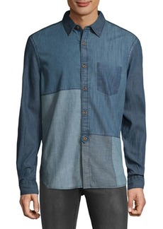 French Connection Antique Patchwork Cotton Casual Button-Down Shirt