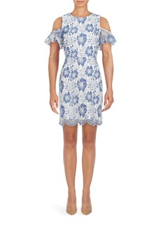 French Connection Antonia Cold-Shoulder Floral Lace Dress